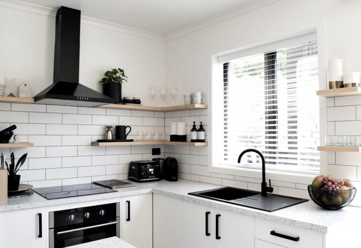 kitchen, black and white kitchen, monochromatic kitchen, resene black white, white kitchen