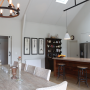 dining room, kitchen, neutrals, white dining room, white kitchen, barn style, grand, timber bench