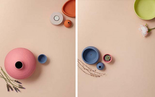 peach paint, flatlay, pink flatlay, painted vases, painted bowls, colour inspiration