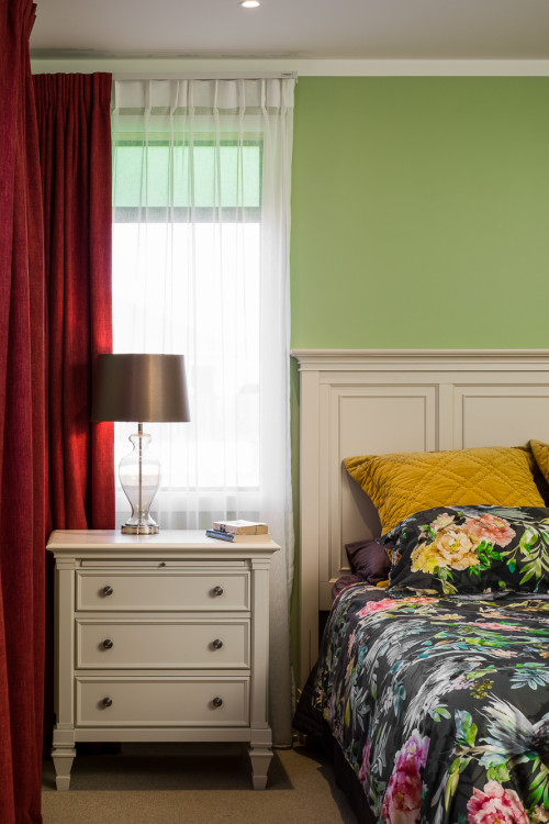 bedroom inspiration, bedroom ideas, bedroom design, green bedroom ideas, green feature wall, resene