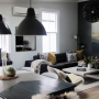 living room, lounge, villa, black and white lounge, black feature wall, neutrals