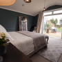 master bedroom, moody blue