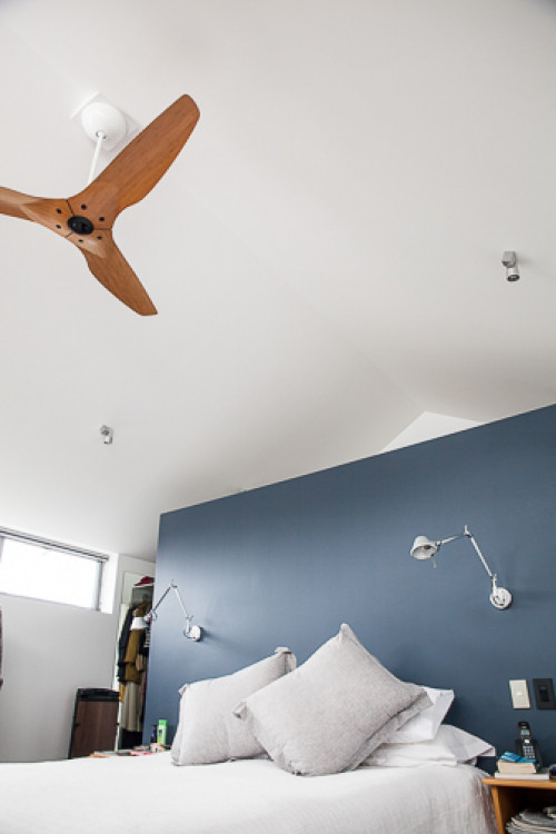 bedroom, blue and white bedroom, blue paint, feature wall, interior