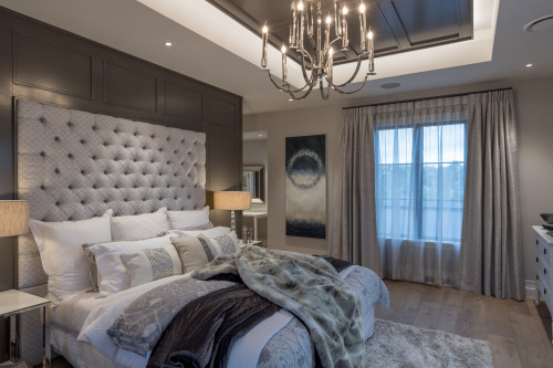 master bedroom, neutral bedroom, neutral master bedroom, grey feature wall, grey bedroom
