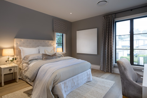 bedroom, spare bedroom, quest bedroom, grey bedroom, neutral bedroom, grey interior