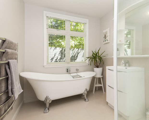 bathroom, white bathroom, neutrals, beige bathroom, clawfoot bath