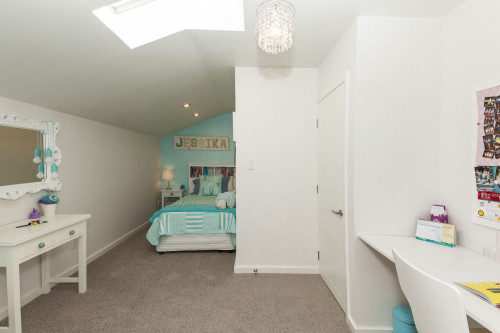 kids bedroom, children's bedroom, girls bedroom, feature wall, aqua bedroom, white bedroom