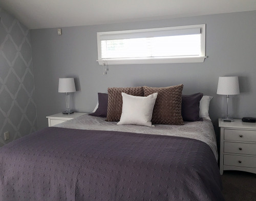 master bedroom, main bedroom, grey bedroom, grey wallpaper, patterned wallpaper