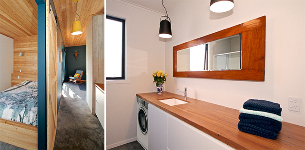 contemporary bach, modern cabin, contemporary cabin, modern cabin bathroom, new zealand cabin