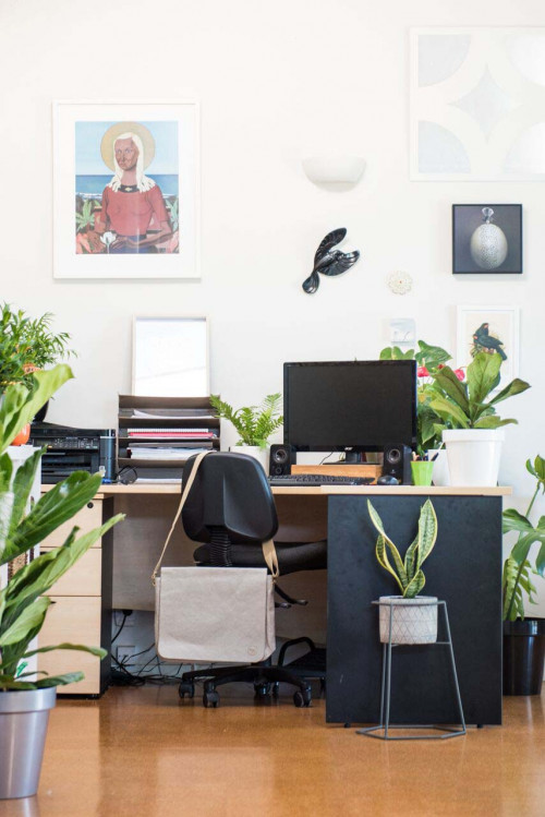 home office, study, white study, black and white, indoor plants, botanical inspired