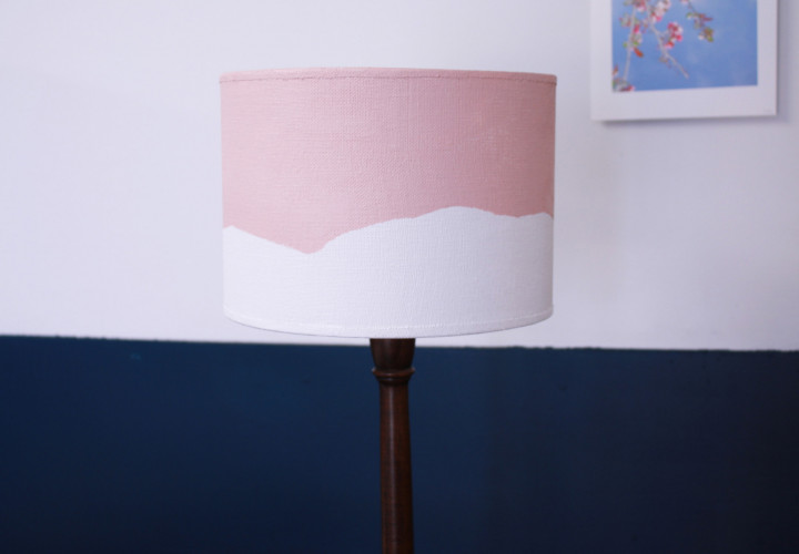 lampshade makeover, diy, lampshade ideas, pink and white paint, pastel pink