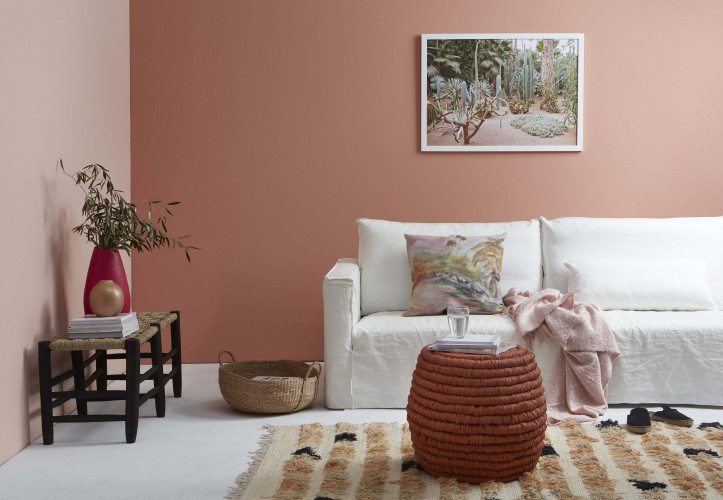 Living room, lounge, peach feature wall, pink living room, pink lounge, pink feature wall