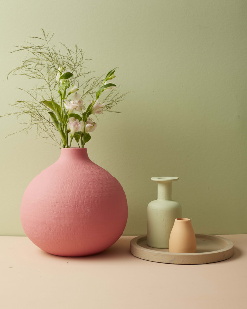 pink and green, pink vase, painted vase, green wall, green paint, pink paint, peach paint