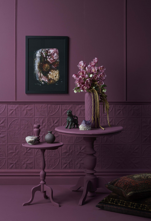 purple room, purple feature, purple paint, plum paint, textured wall, purple table