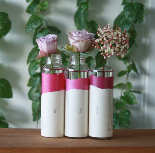 diy project, pink paint, pink vase, glass bottle vase, recycling glass