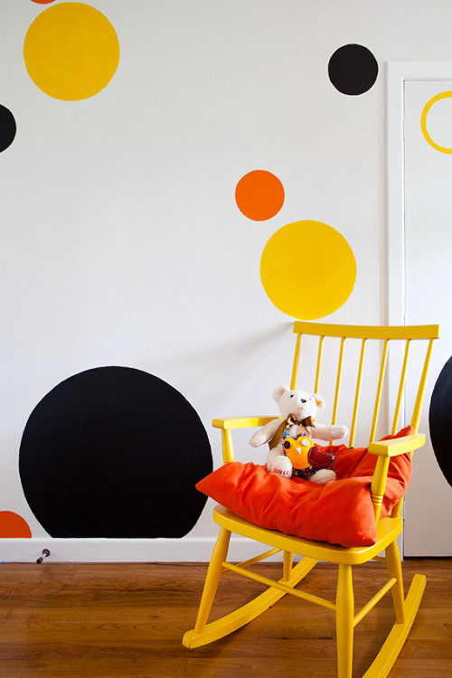 kids bedroom, children's bedroom, feature wall, painted spots, spotted wall, interior, yellow chair