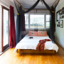 master bedroom, black mosquito net, black and white, white paint, interior, home decorating ideas