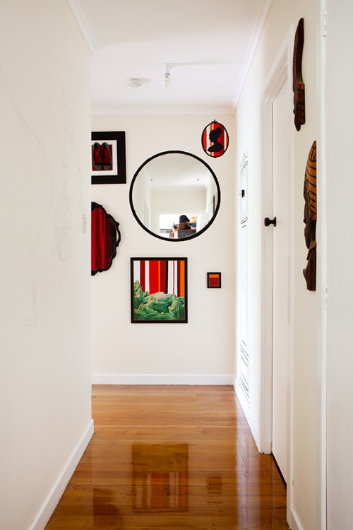 hallway, entrance way, white painted hallway, mirror feature wall, interior, home decorating ideas