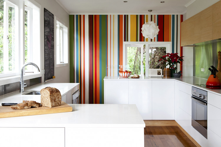 striped feature wall, painted striped wall, kitchen feature wall, interior