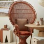 70s inspiration, rattan chair, orange chair, dining, living, resene spanish white, peacock chair