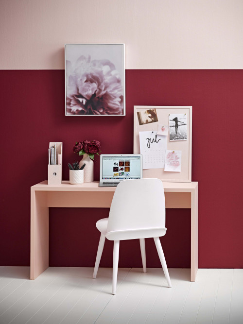 Pink and red office, tonal office, pink desk inspo, pink desk, pink office, Resene