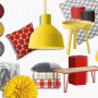 yellow paint, red paint, red and yellow, red accessories, yellow accessories, grey paint