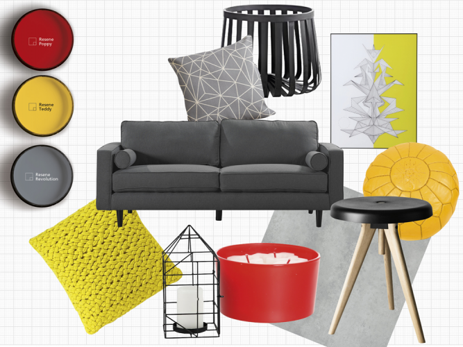 yellow paint, red paint, grey couch, red accessories, yellow accessories, grey paint