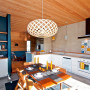 holiday cabin, kitchen, dining room, timber ceiling, feature wall