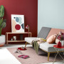 living room, lounge, red feature wall, blue feature wall, blue and red, resene salsa, resene unwind