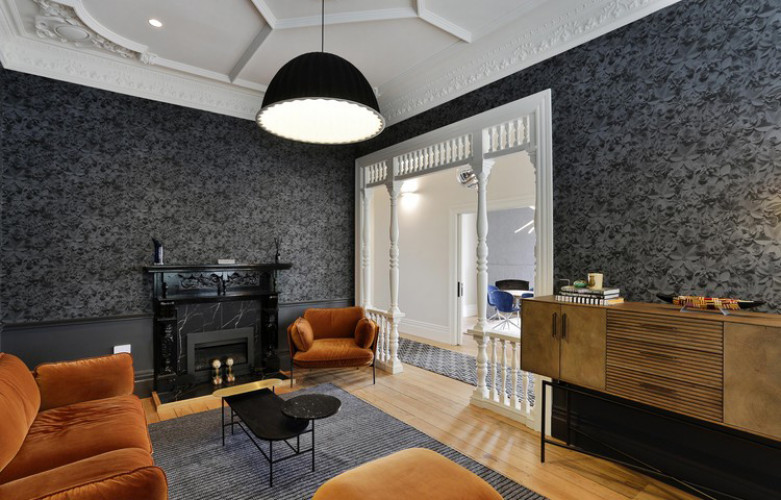 wallpaper inspiration, living room ideas, black and white interior ideas, wallpaper feature wall