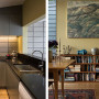 kitchen, renovated villa, grey cabinets, grey kitchen, yellow dining room, yellow interior