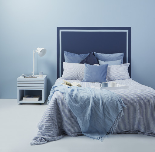 resene smart touch, smart paint, blue bedroom inspiration, painted headboard idea, interior design
