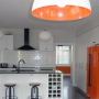 orange, white, white kitchen, tiled kitchen, tiled splashback, painted fridge