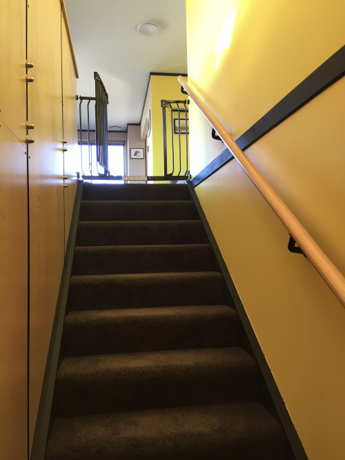 yellow interior ideas, yellow interior inspiration, yellow stairwell, stairwell design, resene