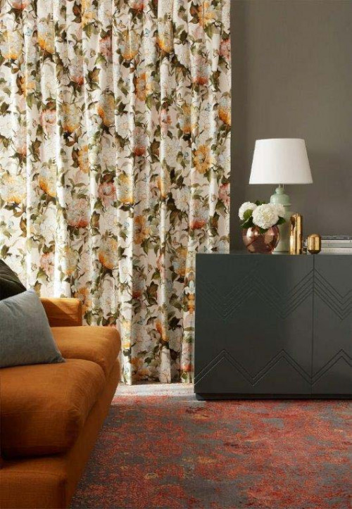 lounge, living room, grey lounge, grey living room, grey and orange, floral curtains