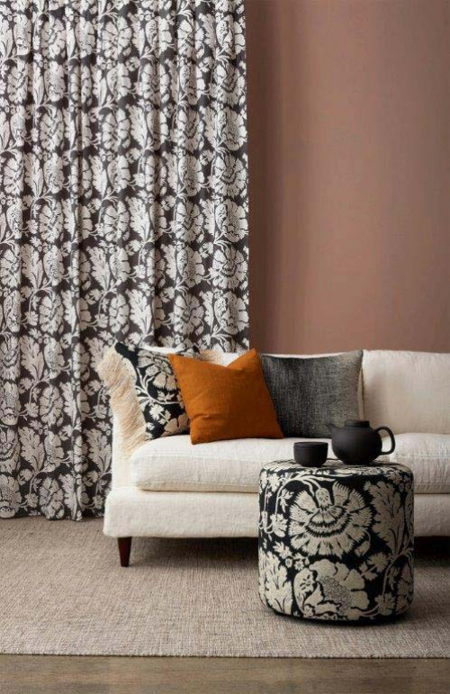 lounge, living room, brown lounge, brown living room, patterned curtains, dusky red walls