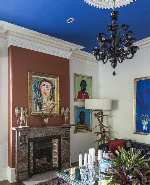 painted ceiling, ceiling inspiration, blue and white paint, living room, lounge, blue ceiling, bold