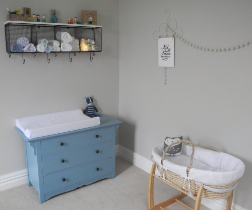 nursery, neutrals, neutral nursery, blue drawers, grey nursery, nursery storage