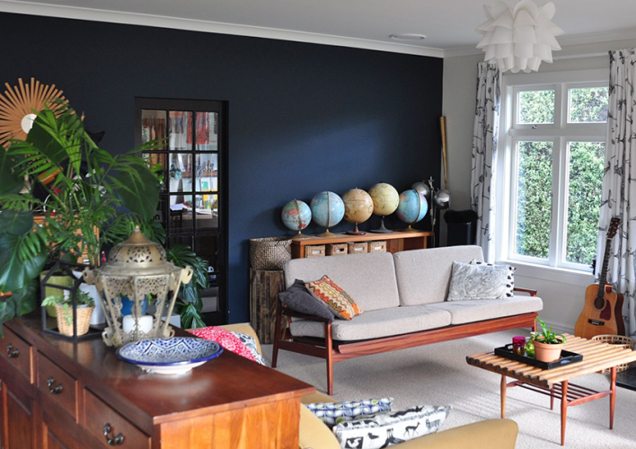 blue, living room, feature wall