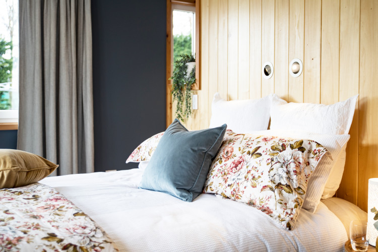 bedroom inspiration, bedroom design, blue bedroom ideas, interior timber wall, timber feature wall