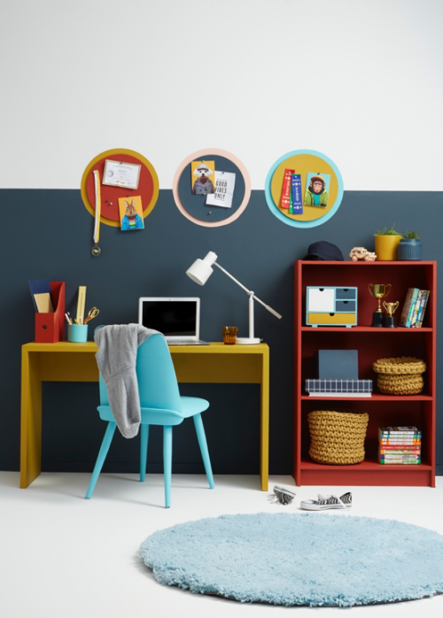 home office ideas, home office inspiration, study inspiration, kids study ideas, colourful interior