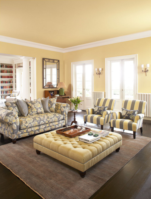 painted ceiling, yellow ceiling, yellow living room, lounge, yellow paint, ceiling inspiration