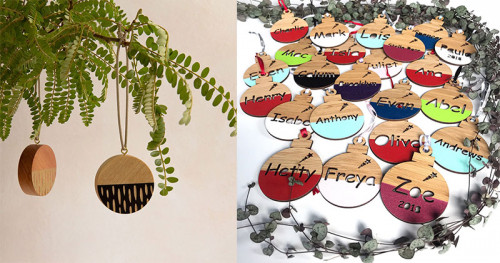 christmas decorations, personalised christmas decorations, inscribe design, tree ornaments