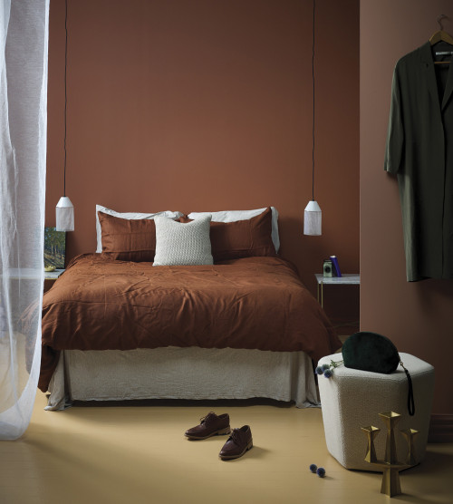 cosy bedroom, bedroom decor, trendy interiors, brown bedroom, terracotta
