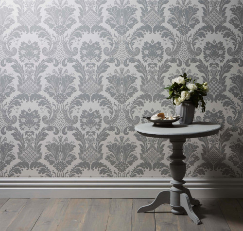 luxury wallpaper, grey, traditional