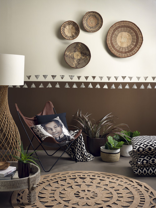global interiors, brown, tribal, paint