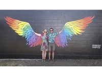 Rainbow angel wing mural a hit in Carterton