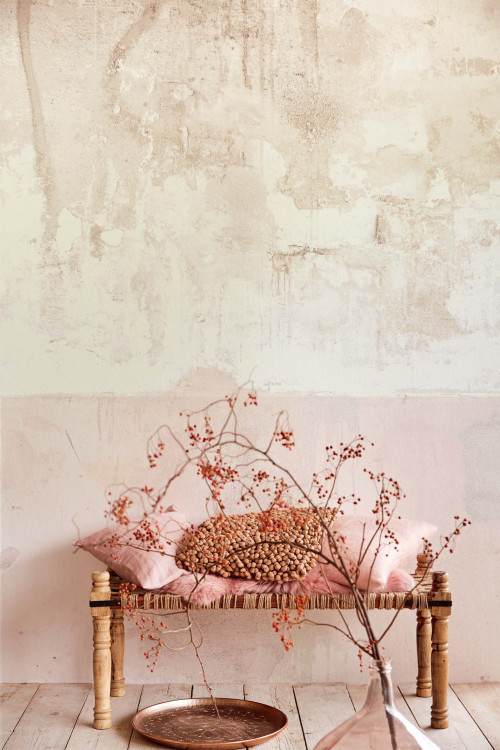 wallpaper, faux concrete, effects, trends, pink, interiors