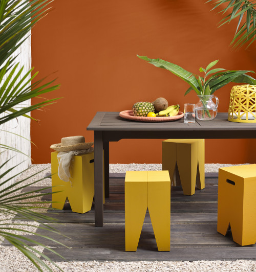 alfresco, outdoor dining, tropical courtyard, orange, yellow