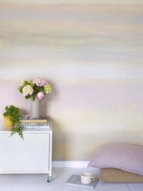 sunset wall, watercolour, feature wall, interior trends, paint effect
